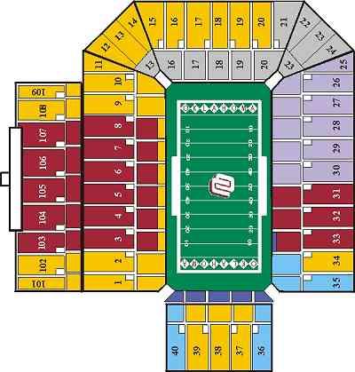 Landry S Tickets Seating Chart Memorial Stadium Norman